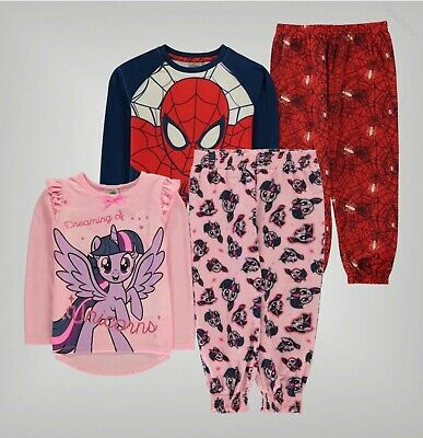 Boys Girls Character Top Bottoms Soft Pyjama Set Sizes Age from 2 to 12 Yrs
