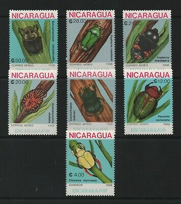 Thematic Stamps Animals - NICARAGUA 1988 BEETLES 7v  3011/7 mint