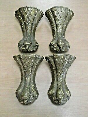 Set Of 4 Antique Cast Iron Roll Top Free Standing Bath Feet - Dragons Claws