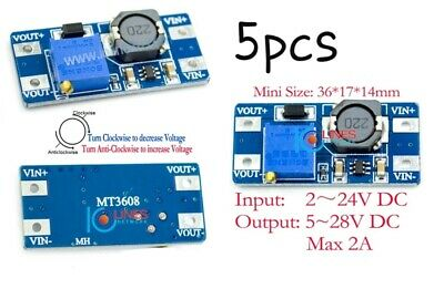 5pcs MT3608 2A Max DC-DC Step Up Power Module Booster Power Module for Arduino