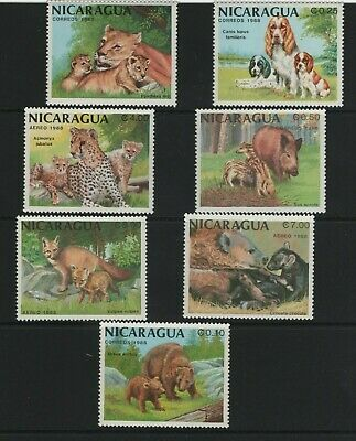 Thematic Stamps Animals - NICARAGUA 1988 MAMMALS & YOUNG 2955/61 7v mint