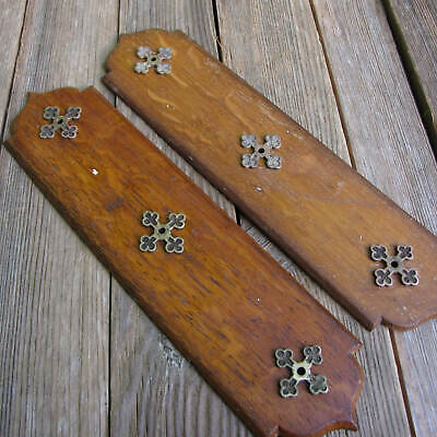 Antique Pair of Unusual Wood Finger Plates with Brass Decoration