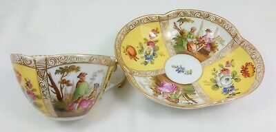 Antique 19Th C Helena Wolfsohn Dresden Porcelain Cabinet Cup & Saucer Courting
