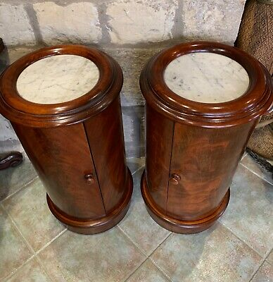 Pair Victorian Pot Cupboards/Bedside Tables - Antique Mahogany Cylindrical Shape