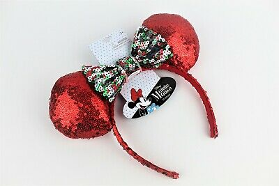 Disney Minnie Mouse Christmas Holiday Red/Green/White Bow Sequin Ears/Headband!
