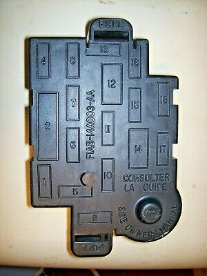 1991 LINCOLN TOWN CAR INTERIOR UNDER DASH FUSE BOX COVER (with fuses)
