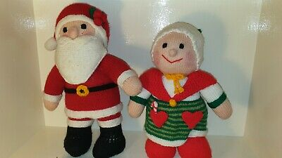 Large Vintage Mr & Mr's Claus Hand Kitted In 1991 Fantastic Condition
