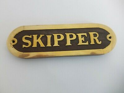 """Brass and Wood Captain Wall Plaque Name Plate Hanging Ship Sign Nautical 8"""""""