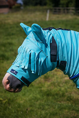 Snuggy Hoods Sweet itch fly UK Head / Mask with fringe and zip Haint blue S/M