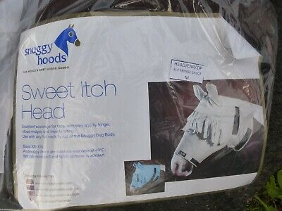 Snuggy Hoods Sweet itch fly UK Head / Mask with fringe and zip beige size M