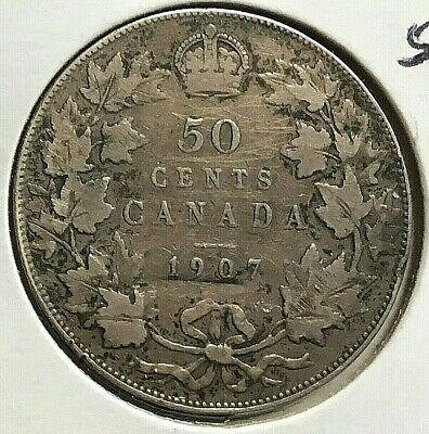 Canada 1907  50 Cent  Silver Coin From A Huge Collection 'Keep Following Us'