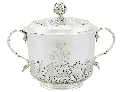 Antique Sterling Silver Porringer and Cover William III 1689