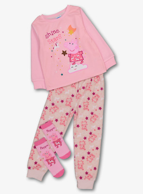 Peppa Pig Official Girls Pink Fleece Pyjamas and Socks Set 2-3 Years BNWT