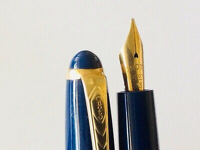 🔥 ONOTO ROYAL BLUE 99 Fountain Pen 14ct Gold Nib & Trims Very Good Used Cond