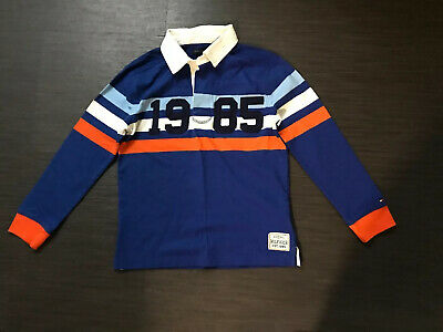 TOMMY HILFIGER Lovely Blue Mix Long Sleeve Polo Shirt Top Size M Approx Age 8-10