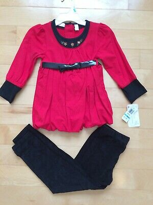 Girls' Kids Headquarters Floral Tunic Top & Velour Leggings Set Red Black size 5