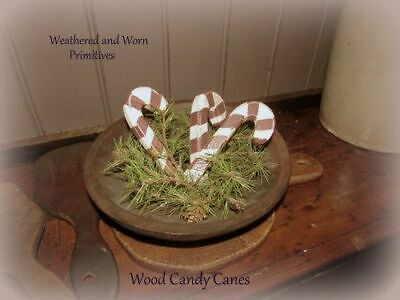 """Primitive Country Painted &  Aged Wood Christmas Candy Canes 4.5"""" Long -Set of 3"""