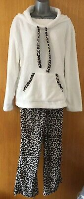 AVON Animal Print Funnel-Neck Fleecy Winter Pyjama Top & Bottoms Set Size 18/20