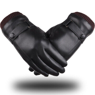 Au Mens Women Touch Screen Gloves Pu Leather Thermal Lined Black Driving Winter