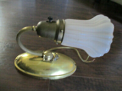 Antique Vintage Ornate Wall Sconce Gold Metal Glass Shade Wired On/Off Switch
