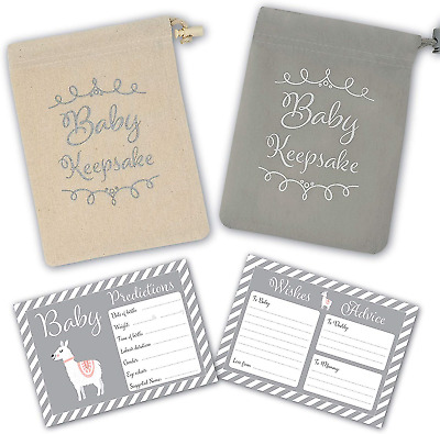 Baby Shower Game - 30 Baby Prediction/Advice/Wishes Cards - Includes Keepsake in