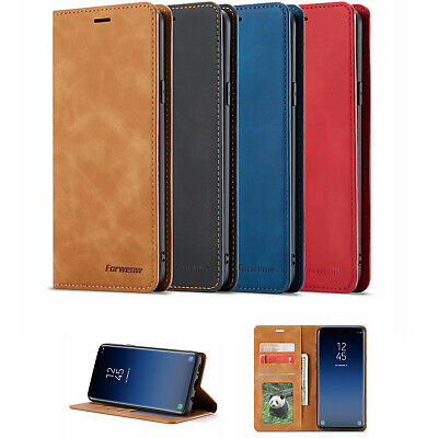 For Samsung Galaxy S9 + S10 Plus Wallet Genuine PU Leather Case Flip Stand Cover