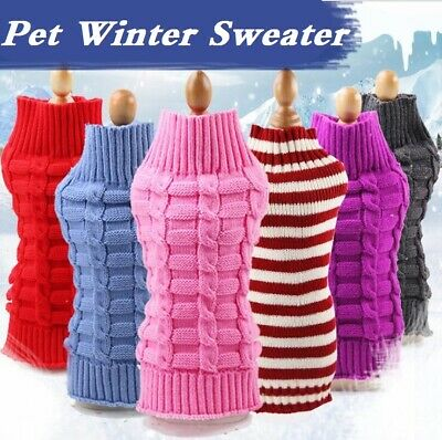 Winter Knitted Puppy Dog Jumper Sweater Pet Clothes For Small Dogs Coat UK