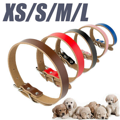 Adjustable Strong Real Leather Dog Collar Pet Cat Puppy Black Pink Red Durable