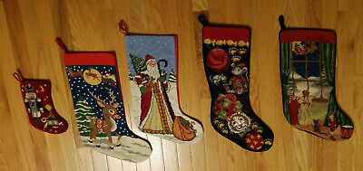 WOOL NEEDLEPOINT CHRISTMAS STOCKING Soldier / Rudolph / Santa / Cat & Mice