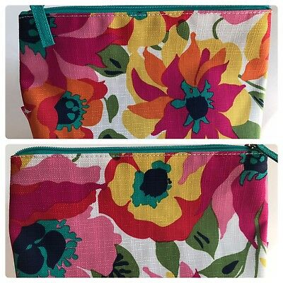 Clinique Toiletries Wash Bag Zip Clutch Make Up Cosmetics Travel Bright Floral