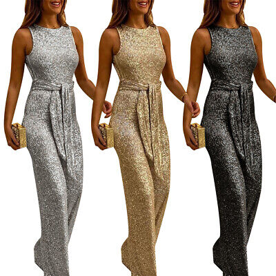 Womens Sequin Sleeveless Open Back Jumpsuit Evening Cocktail Party Long Playsuit