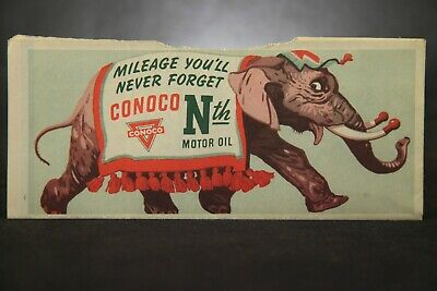SCARCE Conoco Oil Company, Folding Road Map, Elephant Lithograph Advertisement