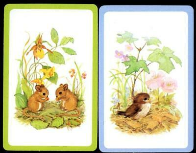 Vintage Swap Cards Bird And Mice In The Field New Condition