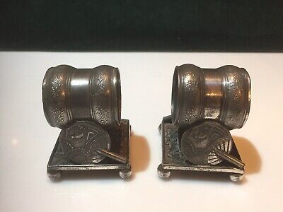 Antique Silver Plated Napkin Rings Meriden 208 Plate X2