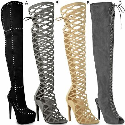 Womens Ladies Thigh High Boots Stilettos Heels Lace Up Sexy Party Over The Knee