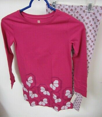 Tea Collection Girls Size 7 Outfit Dress and Leggings Pink Purple Flowers Salta