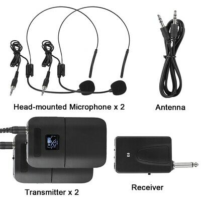 Portable Wireless UHF Mic Microphone with Receiver + Transmitter 200MHz-270MHz