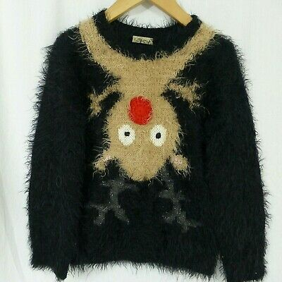 Girls NEXT black fluffy Christmas Rudolph reindeer jumper age 5 years