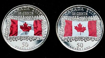 🇨🇦 2015 Both Varieties Of Coloured Canada Flag 25 Cents Uncirculated
