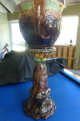 Art Nouveau Majolica Jardiniere with stand I believe made by  Weller