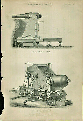 Antique B&W  Illustrated Print Moncrieff Gun Carriage Popular Encyclopedia c1890