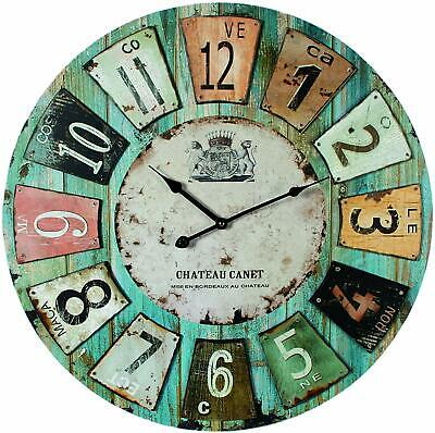 Vintage Wooden Wall Clock Large Rustic Kitchen Home Antique Style Home Decor