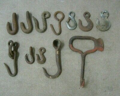 Metal Hooks 12 total variety of sizes and types Hay hook, tow hook more...