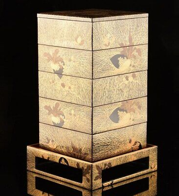Antique Japanese Lacquer Makie Stacking Boxes Jubako Storage with Stand