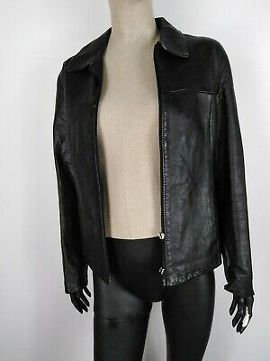OVERPELL CAPPOTTO DI PELLE MADE IN ITALY Giubbotto Giacca Jacket Tg 42 Donna