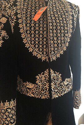 Indian/Pakistani/Asian Navy & Gold Wedding Suit/Mens Sherwani/Groom 2pcs Size M