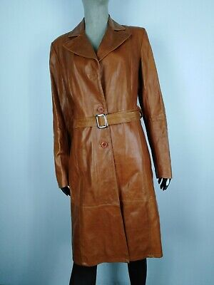 MASTERPELLE TRENCH DI PELLE Cappotto Giubbotto Giacca Jacket Tg 44 Donna