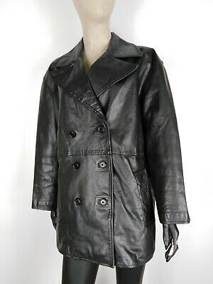 CAPPOTTO VERA PELLE VINTAGE MADE IN ITALY Giubbotto Giacca Jacket Tg 42 Donna