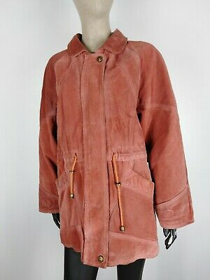 CAPPOTTO di PELLE VINTAGE MADE IN ITALY Giubbotto Giacca Jacket Tg M Donna