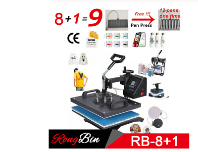 Double Display 8 In 1 Combo Heat Press Machine Sublimation Transfer Pen Phone